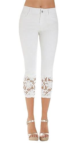 Women's Crohet Skinny Stretch Capri Jeans with Lace Trim