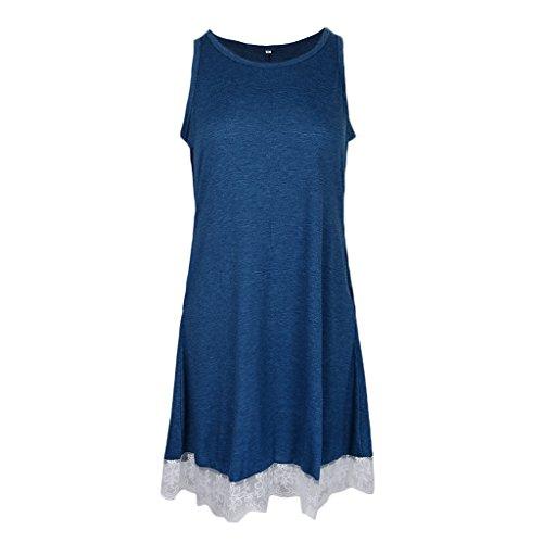 Midi Azul DOLITY Encaje Vintage Abierta V Pleno Vestido Casual 50s Flojo Encaje Playa Cóctel D fwFHWBq4q