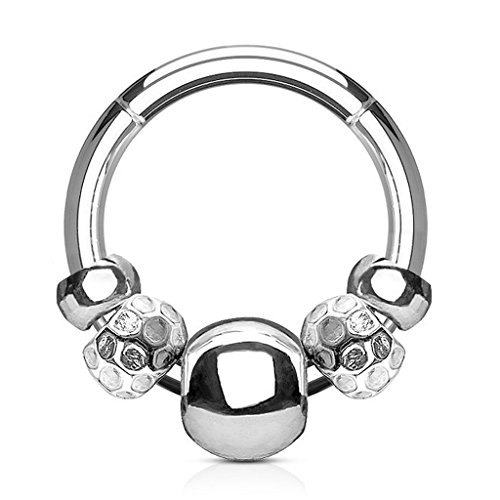 Rings Men's Beaded (16G Hinged Steel Beaded FifthCue Seamless Segment Septum Ring Clicker Ring 316L Surgical Steel - Choose Color (Steel))