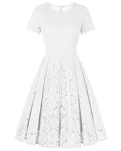 Line Tea (Genhoo Women's Bridesmaid Vintage Tea Dress Floral Lace Cocktail Formal Swing A-Line Dress with Short Sleeve (White,M))
