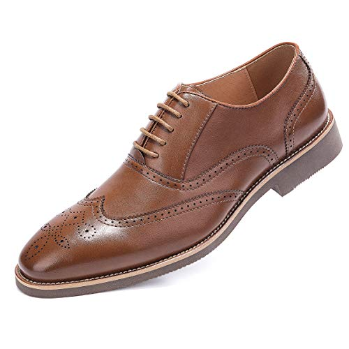 Lace Up Wingtip - Men's Brown Dress Shoes Formal Lace Up Wingtip Oxford Shoes 9.5
