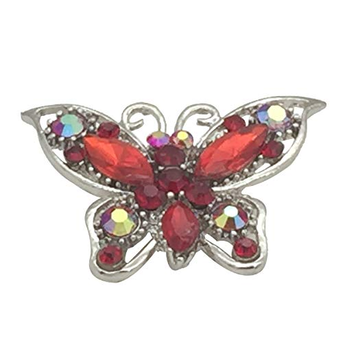 (Ailer Crystal Butterfly Brooch Pin Rhinestone Cute Animal Shape Corsages Scarf Clips Brooches for Women Girls-Red)