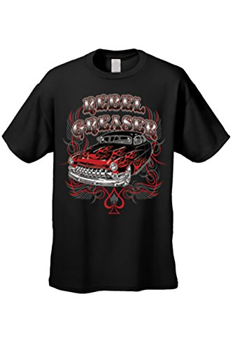 Men's T Shirt Rebel Greaser Short Sleeve Tee: Black (Medium)