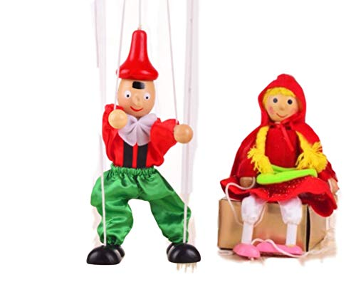 Sparik Enjoy 2 Packs Boy Girl Hand Marionette Puppet Children's Wooden Marionette Toys Colorful Long Nose Marionette Puppet Doll Parent-Child Interactive Toys- Lovely Red Girl and Boy Color Random