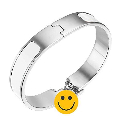 Fashion Titanium Steel Bracelets Buckle Bangle Love Bracelet Enamel Bracelet Jewelry for Women(white/sliver12)