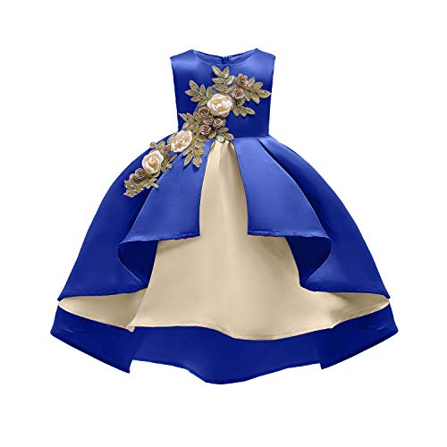 (AIMJCHLD Pageant Dresses for Girls Party Birthday First Communion Feast Tutu Ball Gown Flower Dresses Elegant Kids Fall A Line Bodice Flower Dress Size 3 4 Years (Royal Blue 110))