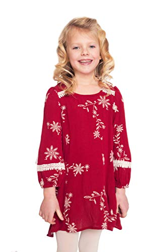 Hannah Banana, Little Girls' Designer A-lIne Long Sleeve Dress with Lace Crochet Trim and Embroidery, Size 4-6X (Red Floral, 6) (Hannah Banana Clothing)