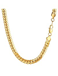 Snake Chain Men 316L Stainless Steel 6.5mm/8mm Wide Necklaces 18k Gold/Black Gun Plated Necklace 18''20''22''24''26''28''30'' Chains