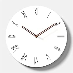 Simple Modern White Round Wooden Wall Clock 11 inch Non-ticking one AA battery powered (Roman Numbers)