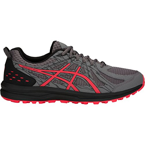 ASICS 1011A034 Men's Frequent Trail Running Shoe, Carbon/Red Alert - 10 D(M) US