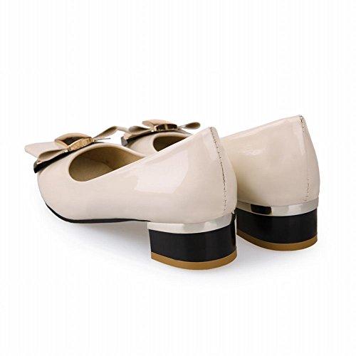Charme Pied Mode Arcs Dames Bas Talon Pompes Chaussures Beige
