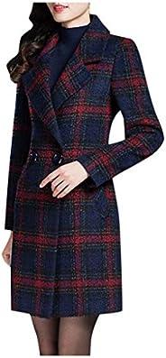 Women Jacket Coat Winter, Ladies Plaid Printed Long Sleeve Bussiness Suit Coat Double-Button Long Outwear