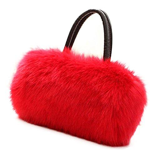Tote Long Bag Clutch shoulder Wallet Women's Red Purse Fur Hobo Ladies Faux HandBag FUNOC gvn0Hqz