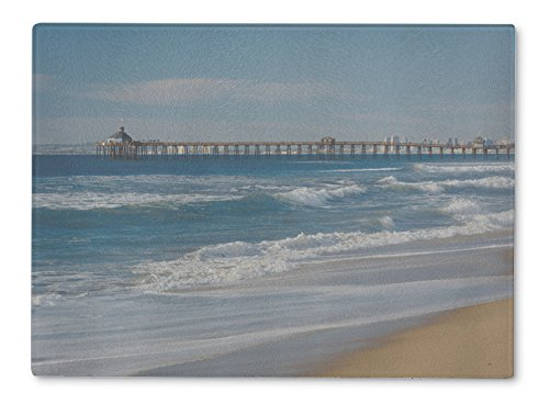 Gear New Glass Cutting Board and Serving Dish, View Of The Fishing Pier In Imperial Beach California, also makes great accent decor piece, 11x8, (Imperial Glass Block)