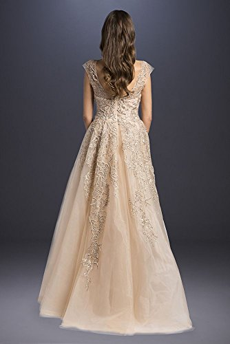 Dress Tulle Style Champagne Wedding Sleeve A Beaded Line Cap 33621 SFYF1