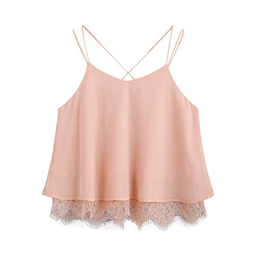 Toimothcn Women Loose Lace Camisole Vest Tank Tosp Sleeveless Casual Summer Blouse Crop Top T-Shirt(Pink,M) ()