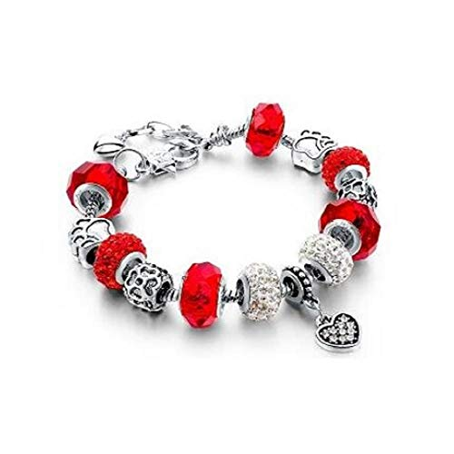 FAVOT 2019 New DIY Crystal Beads Bracelet Pampado Vintage Alloy Rhinestone Small BeadsSnake Chain Girl Birthday Gift (Red)