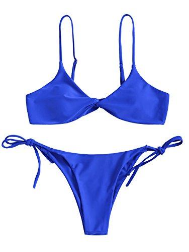 1 Cam String (ZAFUL Women's Sexy Cami Straps Twist Front Padded String Thong Bikini Set (Royal M))