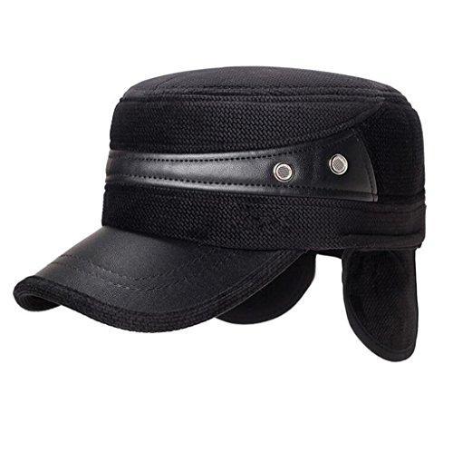 Hombre Men's ZHAS de Hat Moda cuero Invierno blue Aged de sombrero pu Middle Otoño Gorro q4SEf