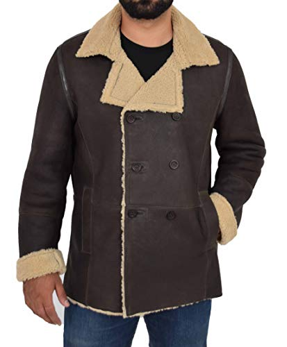 Mens Sheepskin Leather Double Breasted Jacket Real Shearling Lined Theo Brown (Small)