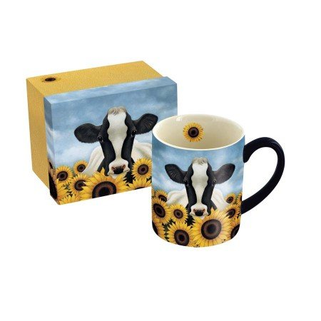 LANG - 14 oz. Ceramic Coffee Mug -Surrounded by Sunflowers, Art by Lowell Herrero - Cow, Sunflowers