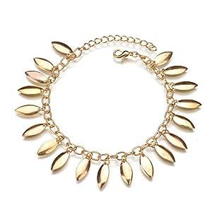 Tgirls Boho Vintage Anklet Bracelet Tassel Barefoot Sandals Chain Jewelry for Women and Girls