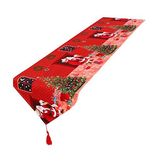 BESTOYARD Árbol de Navidad de Navidad Mesa de árbol Mantel Impreso Adornos de Mesa de Cena (Rojo)
