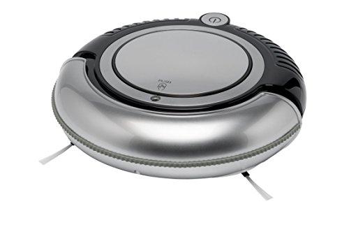 MEDION MD 15328 Mini Saugroboter (2 Seitenbürsten, Saugleistung 21 Watt, 0,2 l Staubbehälter, Akkuanzeige, 1,5 kg, Unterstützt Oberflächen wie Fliesen, Hartböden, Parkett und Teppich) silber