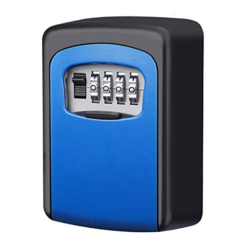KeeKit Key Lock Box, 4 Digit Combination Lock Box, Wall Mount Key Storage Box, 5 Key Capacity for The Keys of Car, House, Warehouse and Office - Blue