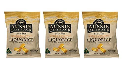 Aussie Outback Bite Size Mango Coconut Liquorice Soft Eating Australian Licorice 4oz - Pack of 3 (Mango Coconut)