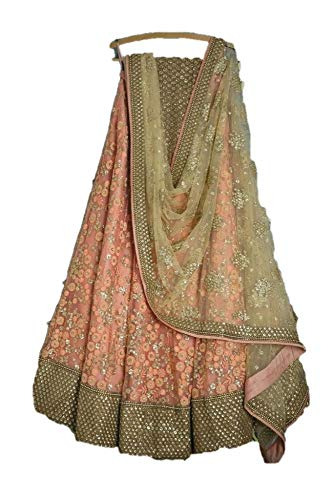 - REKHA Ethinc Shop Embroidery Peach Color Lehenga Choli for Woman & Girl A579
