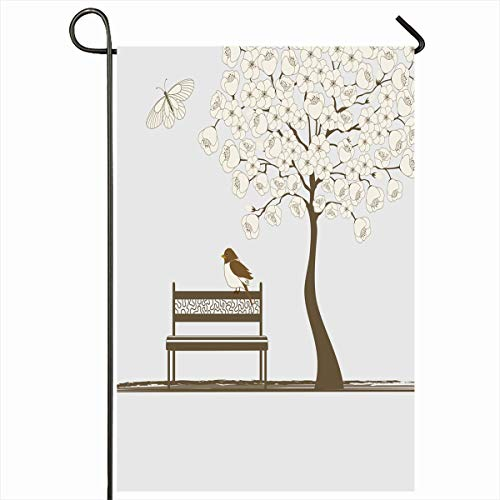 (Ahawoso Outdoor Garden Flag 12x18 Inches Insect Beige Flying Tree Butterfly Bird On Bench Nature Parks Romantic Bloom Blossom Branch Chair Two Sides Seasonal Home Decor House Yard Sign Banner)