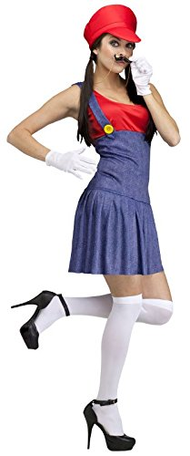 Fun World Costumes Women's Pretty Plumber Adult Costume, Red/Blue, Medium/Large