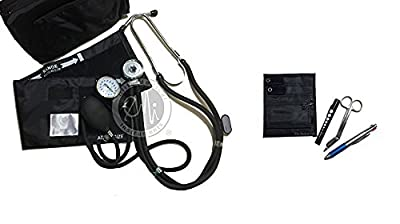EMI NK-330 Sprague Rappaport Stethoscope and Aneroid Sphygmomanometer Manual Blood Pressure Set and Pocket Organizer Nurse Kit
