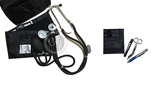 EMI NK-330 - BLACK Sprague Rappaport Stethoscope and Aneroid Sphygmomanometer Blood Pressure Set and Pocket Organizer Nurse Kit