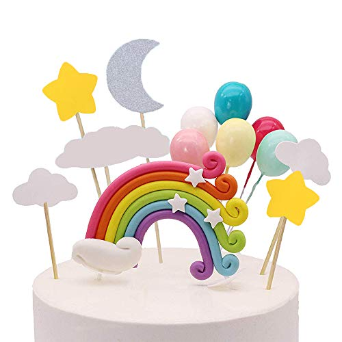 Palksky Colorful Rainbow Cake Topper/Wedding Cake Flags/Cupcake Picks Set -Include Cloud Balloon Moon Stars/Boy Girl Kid Birthday Baby Shower Party Baking Decoration Supplies