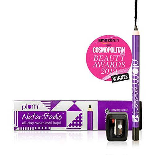 Plum Natur Studio All Day Wear Kohl Kajal, 1.2g with Free Sharpener (Best Waterproof Eyeliner In India)