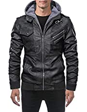 VANDIMI Mens Leather Jackets Motorcycle Jacket with Removable Hood Zipper Black Brown Faux Leather Bomber Jacket Coats