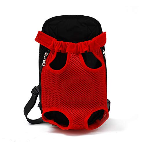 (UNITRIP Pet Carrier Backpack, Ventilated Design Adjustable Portable Outdoor Pet Front Cat Dog Carrier Backpack Travel Bag for Traveling Hiking Camping Use (XL, Red))