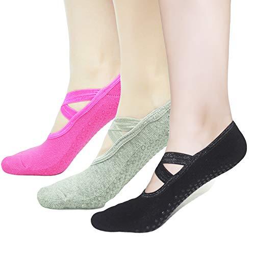 Pilates Socks Yoga Barre Ballet For Women - Elutong 1-3 Pairs Sticky Gripper Slipper Non Slip Grips Socks Sox ()