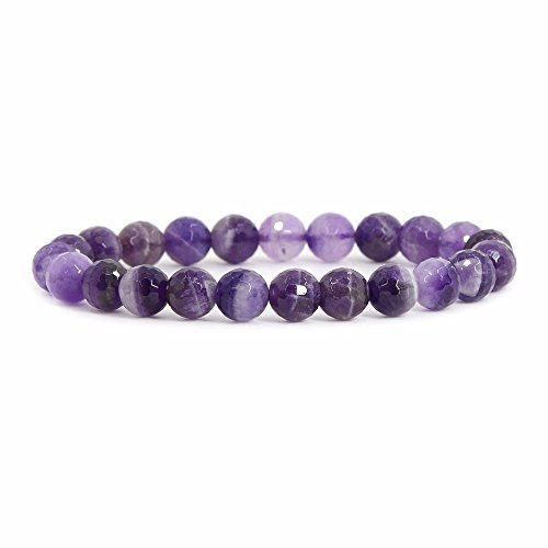 Natural Faceted African Amethyst Gemstone 8mm Round Beads Stretch Bracelet 7