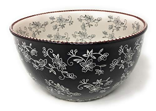 (Temp-tations 4 Qt Tall Side Bowl with Plastic Cover (Floral Lace Black))