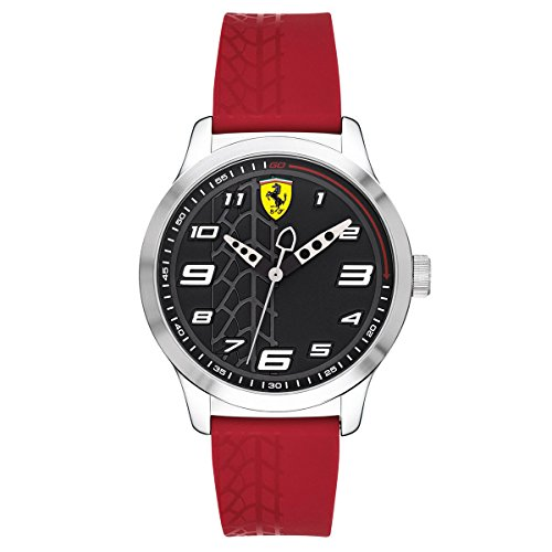 (Ferrari Boy's Pitlane Quartz Stainless Steel and Silicone Strap Casual Watch, Color: Red (Model: 840019))