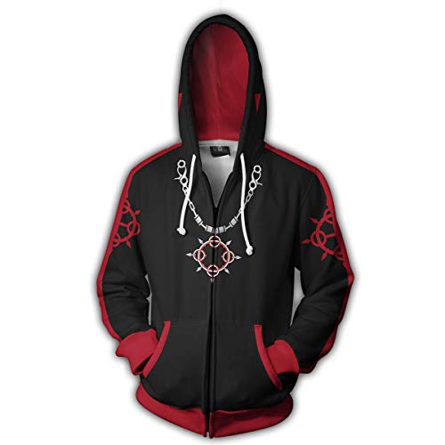 VOSTE Axel Costume Halloween Game Cosplay Zip Up Hoodie Jacket (Medium, Color 6) -