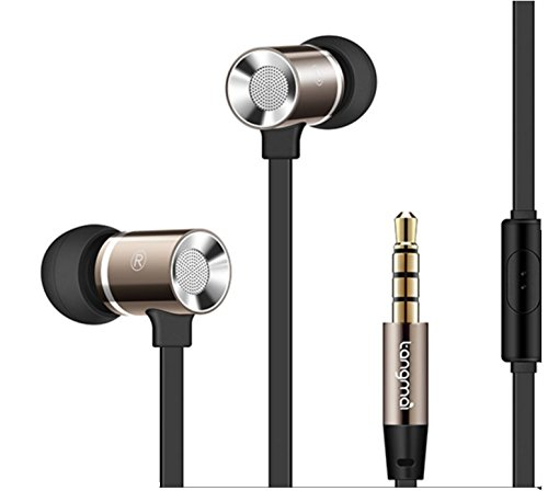 TangMai 3.5mm Noise-isolating Metal In Ear Earbuds Earphones Headset with Mic Microphone & Volume Control Super Enhanced Bass headphones for travel running Audiophile Sport Gaming SmartPhones,Computer
