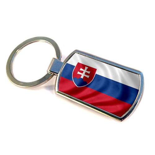 Premium Key Ring with Flag of - Slovakia Svk