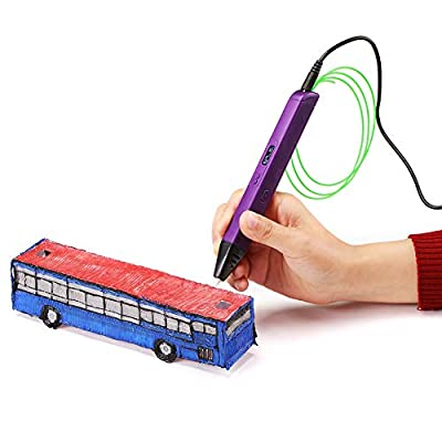 Soyan Professional 3D Printing Pen with Temperature & Speed Control, Large OLED Screen, Work with PLA and ABS (Purple)