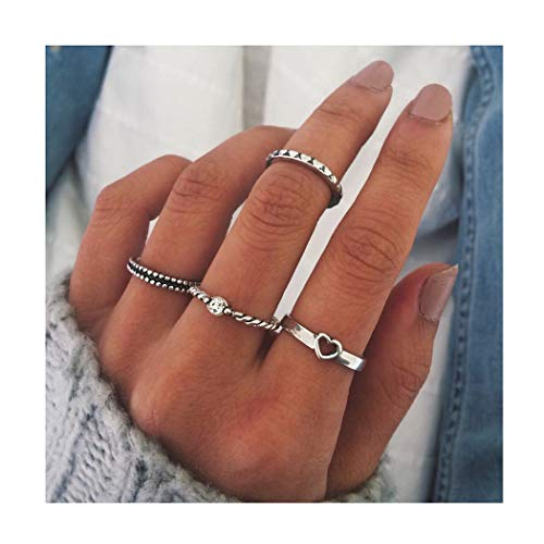 (Edary Heart Knuckle Ring Vintage Silver Joint Knuckle Ring Set for Women and Girls.(4PCS))