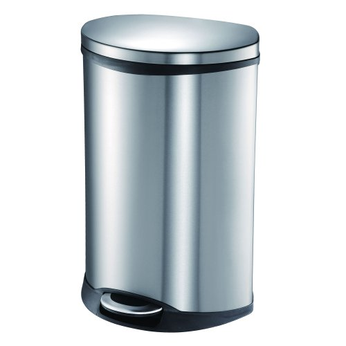 50l Waste Bin - EKO 92185-1 Oblong Shell 13 Gallon Stainless Steel Step Trash Can with Lid | 50 Liter Metal Waste Bin