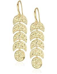 TreEsse Italian 10k Yellow Gold Tiered Moon Dangle Earrings